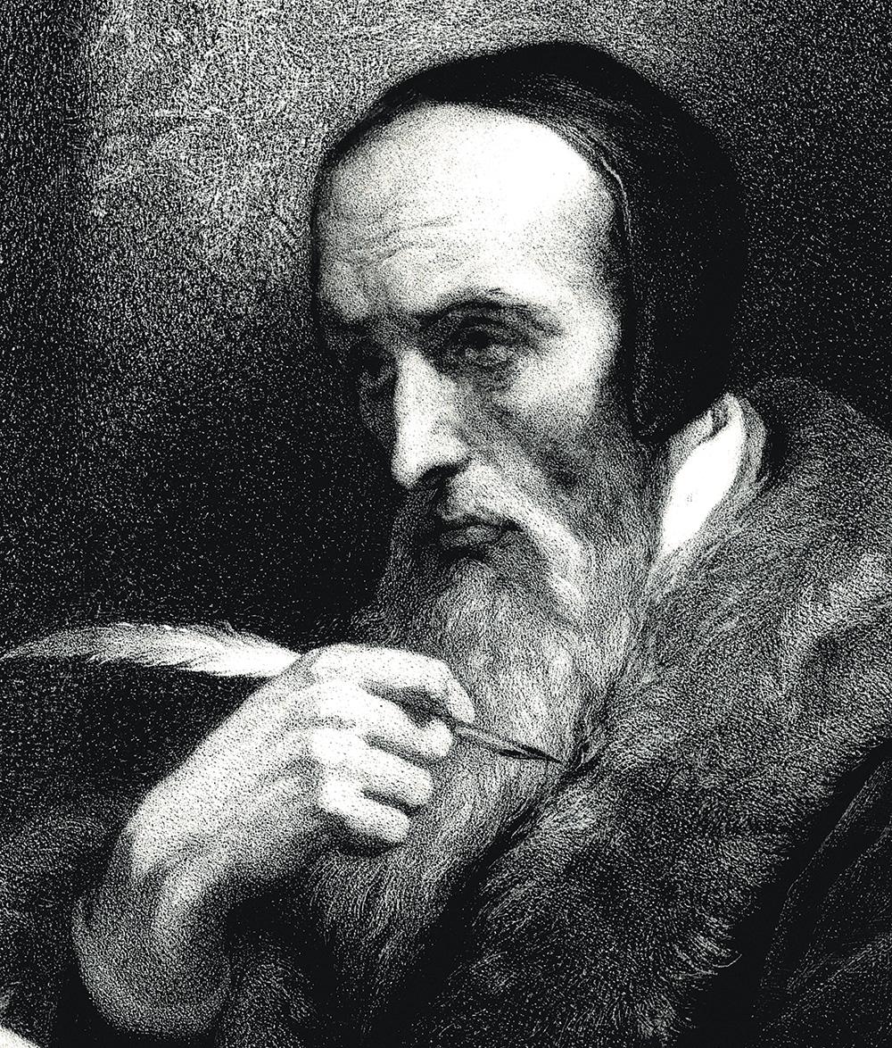 Détail de : Calvin, Charpentier, vers 1850-1875, lithographie d'après le Portrait de Calvin écrivant par Ary Scheffer (1858) Musée du Noyonnais, Noyon,  Photo: ©Musées de Noyon, inv. MN 703