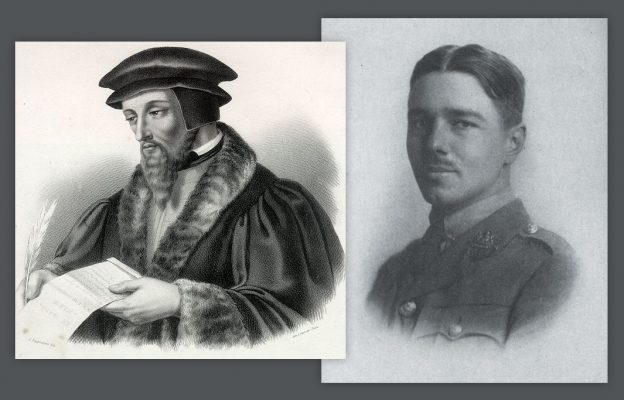 J.Calvin, lithographie de Lemercier, XIXe siècle, MC 55, Musée Jean Calvin, Noyon // W. Owen, gravure,  Poems by Wilfred Owen, Chatto & Windus, London, 1920